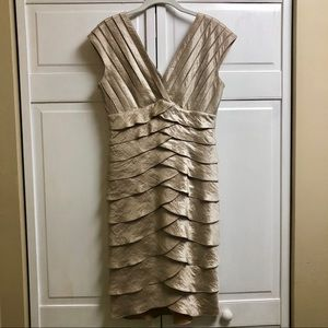 Adrianna Papell Dresses - Adrianna Papell Tiered Champagne Cocktail Dress